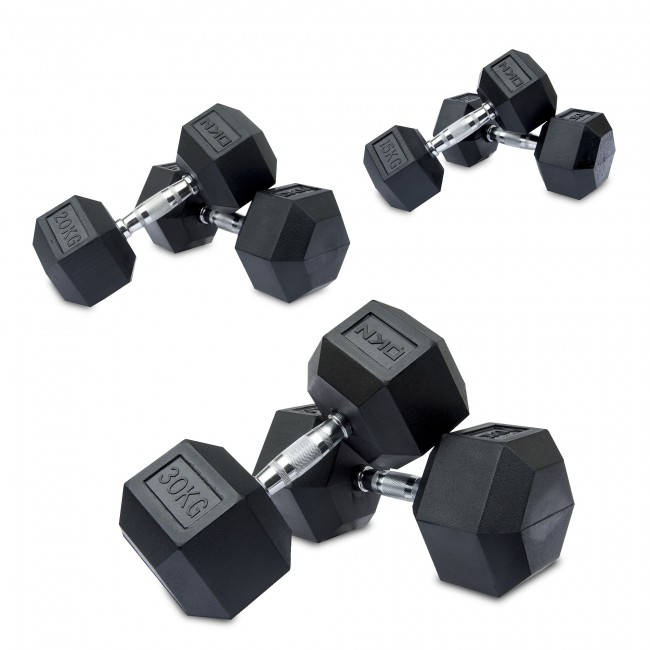 Rubber Dumbbell Set: 15, 20, 30kg Rubber Hex Dumbbell Set